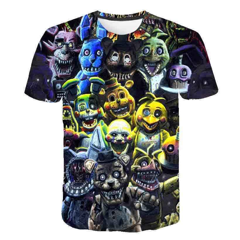 Fnaf Baru Kartun Anak-anak Kaos Lima Malam Di Freddy 3D Dicetak Anak-anak T-shirt Musim Panas Lengan Pendek T Shirt anak Laki-laki/Perempuan Atasan