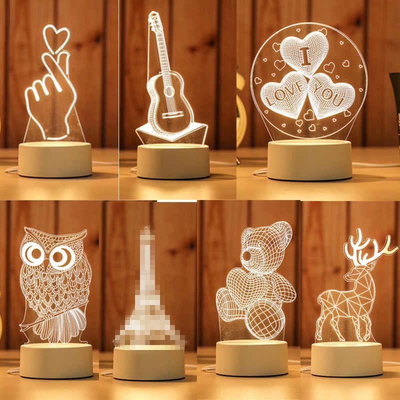 Подарок для подруги бойфренда 3D Голограмма лампа USB акриловые огни вечерние Подарок на годовщину подарок на день Святого Валентина