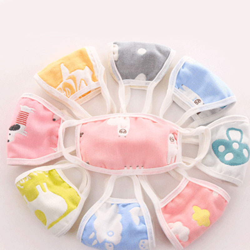 Kids Mask Baby Mouth Mask Children Students Thicken Washable Cotton Face Masks With Filter Dust-proof Random Color