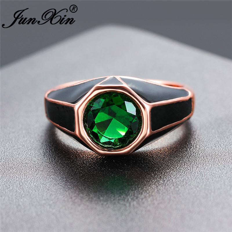 Vintage Male Antique Rose Gold Wedding Rings For Men Women Round Red Green Stone Zircon Engagement Ring European Prom Jewelry CZ(China)