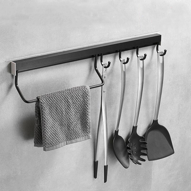 Aluminum  Kitchen Hook Punch Free Rack Pantry Bar Kitchen Shelf  Aluminum Frame Kitchenware Utensil Tool Storage Rack Matt Black