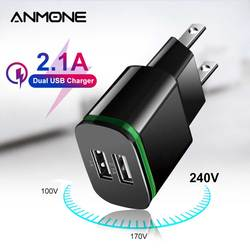 ANMONE 5V 2A Dual USB Charger Fast Charging for Phone Charge LED Display EU US Plug Wall Adapter For Xiaomi redmi note 8 pro