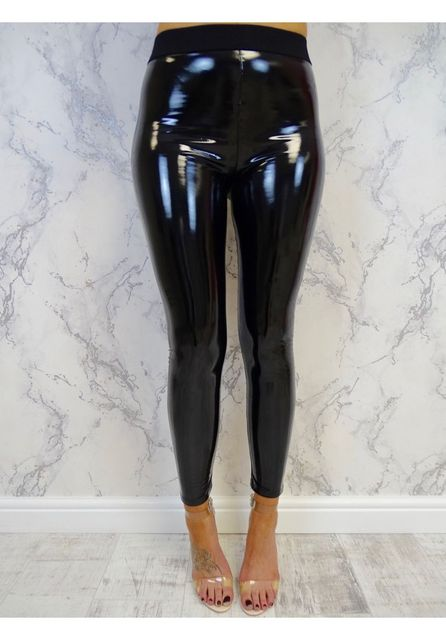 Gothic Stretch Shiny Wet Look PU Leather Leggings Women Black Slim Push Up Long Pants Ladies Sexy Skinny Leggings 4