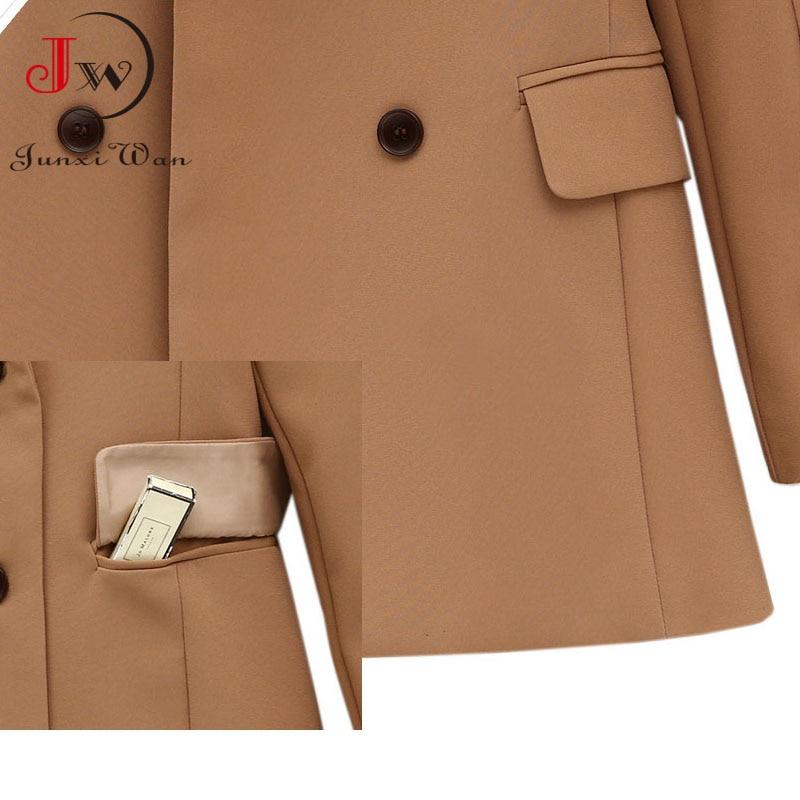 Women Blazer 2021 Solid Casual Double Breasted Office Wear Coat Jacket Long Sleeve Notched Collar Pockets Elegant Suit Outwear 5