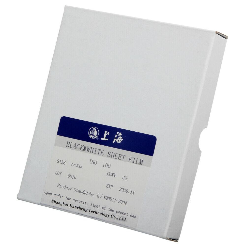 Shanghai  4x5  5X7 8X10 Black & White B/W ISO 100 Sheet Film 25 Sheets EXP 02 2021 Freshest|Photo Studio Accessories| |  - title=