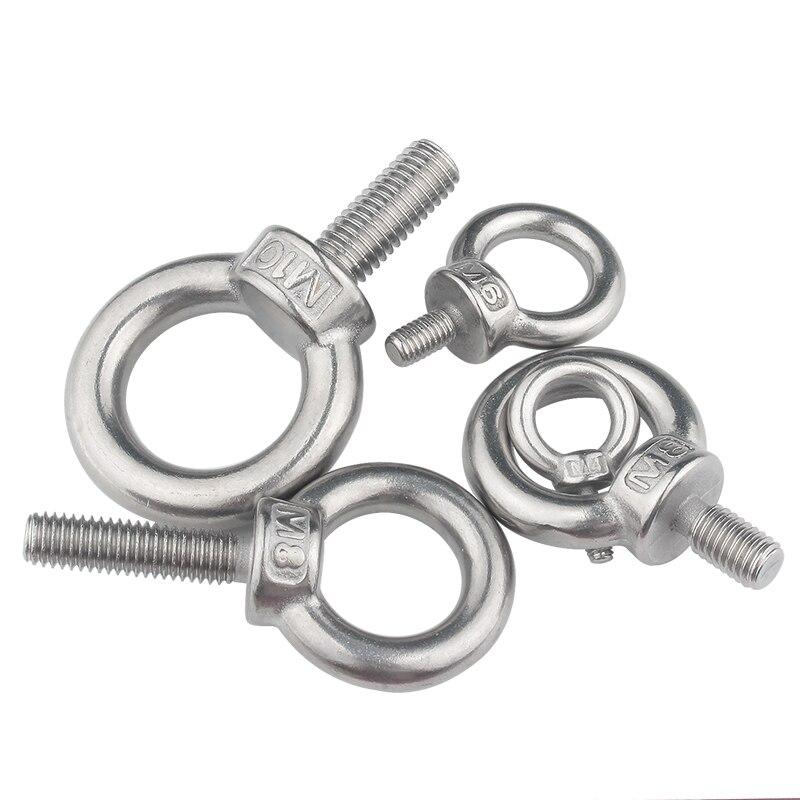 5Pcs 304 Stainless Steel Lifting Eye Hole Screw Bolt Nut M3 M4 M5 M6 M8 M10