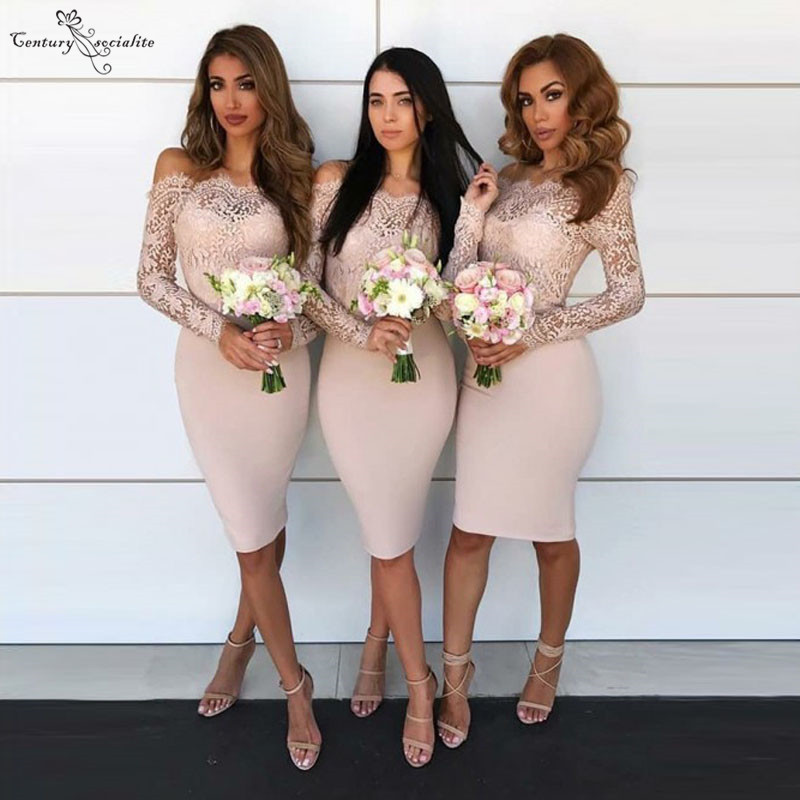 Off Shoulder Bridesmaid Dresses Short Knee Length Long Sleeves Lace Maid Of Honor Dress Prom Dress Wedding Guest Gowns
