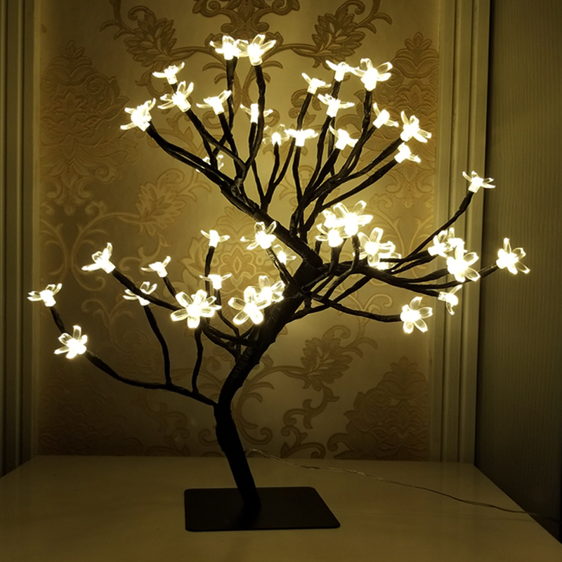 Creative 48 LED USB Cherry Plum Blossom Desk LampWarm White Bonsai Tree Night Light Indoor Home Party Wedding Decora Table Light