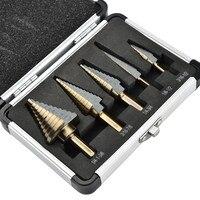 5Pcs/Set Step Cone Drill Bits Steel Titanium Hole Cutter High Speed Drilling Tools Triangular Round Handle HSS Steel