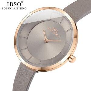 Image 3 - IBSO kobiety zegarek kwarcowy proste wodoodporny zegar godzin moda Montre Femme panie skóra Quartz zegarek wodoodporny