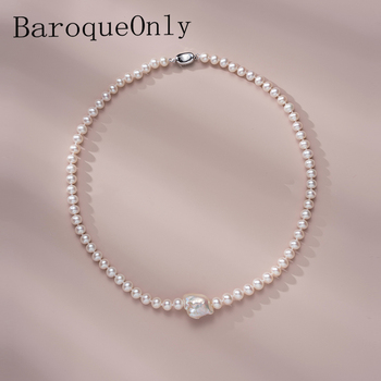 BaroqueOnly Natural freshwater baroque pearl necklace pendant Jewelry 925 sterling silver clavicle necklace gift for Women NAC