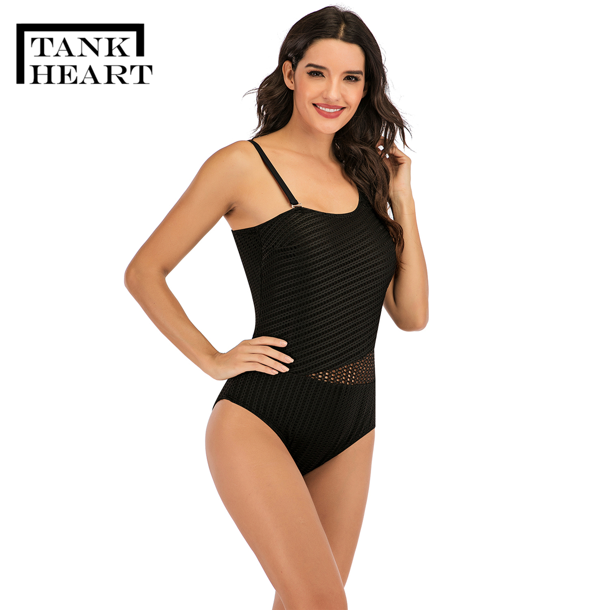 Image 5 - Tank Heart 2020 Black Mesh One Piece Swimsuit Plus Size Swimwear Women with Chest Pad One Shoulder Swimming Suit for WomenBody Suits   -