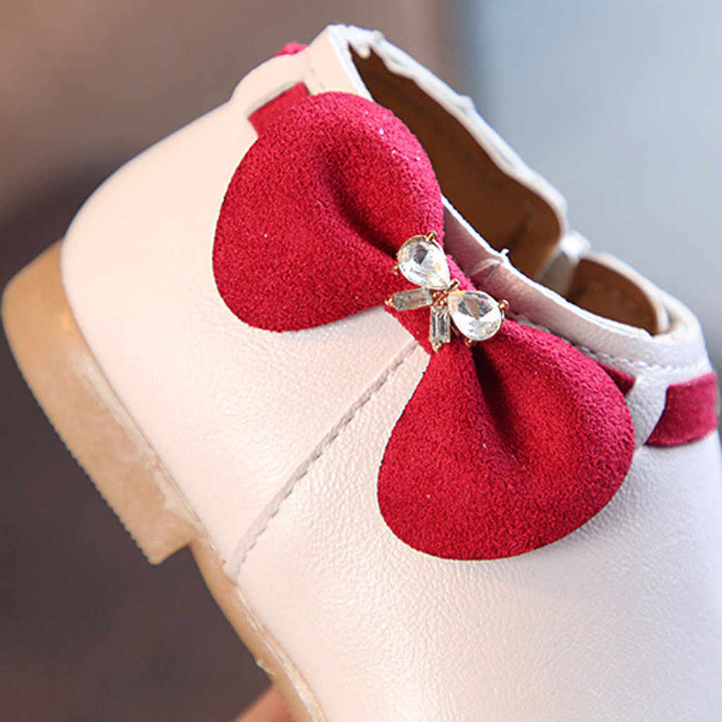 SAGACE ฤดูใบไม้ร่วงฤดูหนาวรองเท้าหนังเด็กรองเท้าเด็กผู้หญิงรองเท้ารองเท้าเจ้าหญิง Bowknot รองเท้าเด็กฤดูหนาวหนัง