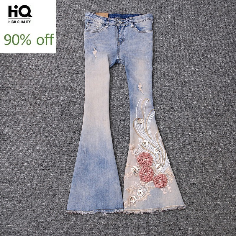 Fashion 2020 New Womens Jeans Straight Embroidery Floral Slim Fit Flare Pants Sequined Sweet Female Full Length Zipper Trousers
