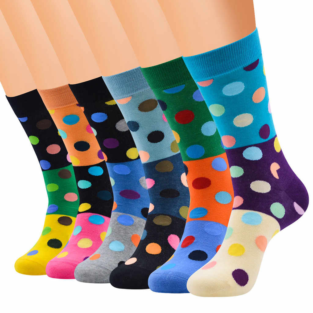 Fashion Men's Casual Socks Dot Print Cotton Pattern Lady Socks Tube Comfortable Mixed color Creative High Quality Funny Socks