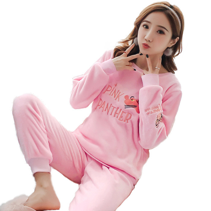 Coral Velvet Pajamas Women's Winter Sweet Cute Pink Panther Cartoon Set Thick Flannel Students Princess Style Home Wear