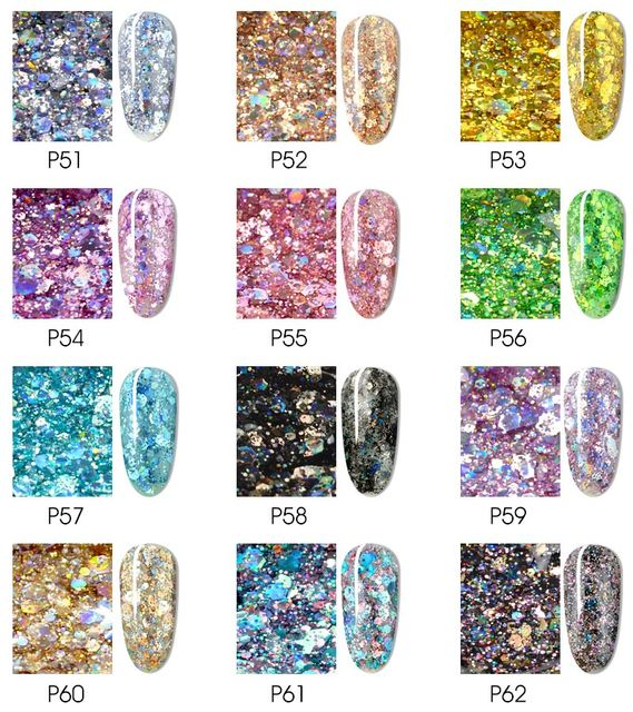Glitter Bright Painting Gel Multi Shape Sequin Semi Permanent Soak Off UV LED Nail Gel Varnish Luxury Starry Color Gel Lacquer 6