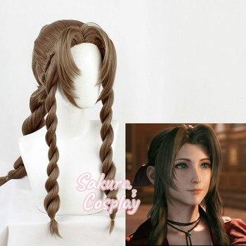 FF VII 7 Remake Aerith Gainsborough Cosplay brązowy warkocz długie żaroodporne włosy syntetyczne Halloween karnawał + darmowa peruka Cap