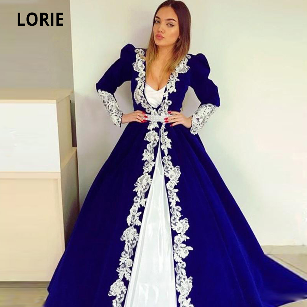 LORIE Ball Gown Royal Blue Muslim Evening Gowns with Long Sleeve Satin Lace Appliques Formal Prom Party Gown Plus Size Vintage