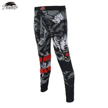 MMA Black ferocious wolf head Fighting boxing fitness pants Tiger Muay Thai mma shorts cheap kickboxing shorts sanda mma