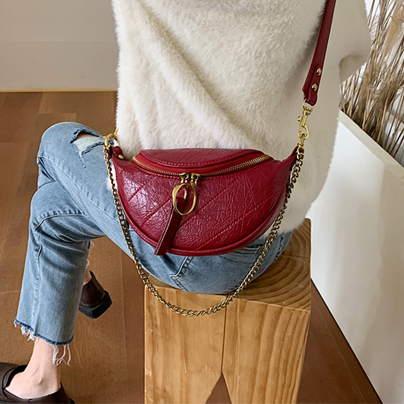 Solid Color Pu Leather Crossbody Bags For Women 2020 Round Zipper Shoulder Messenger Bag Lady Chain Travel Handbags
