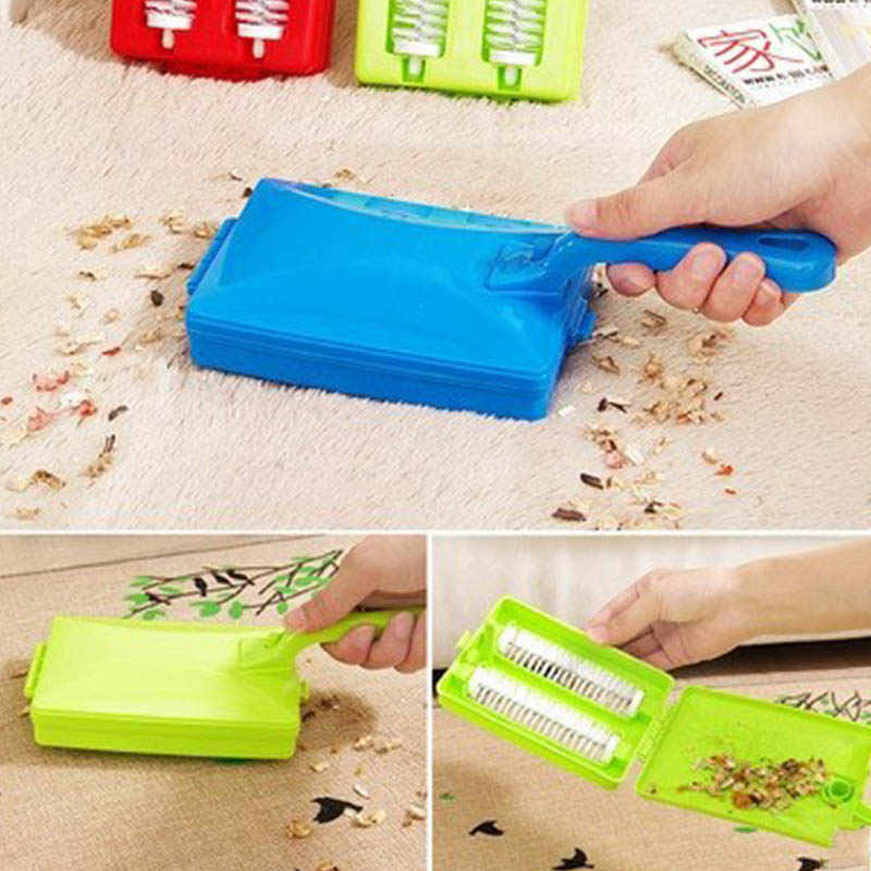 2 Brush Head Handheld Carpet Table Brush Plastic Sweeper Crumb Dirt Cleaner Roller Tool Home Cleaning Brushes Accessaries