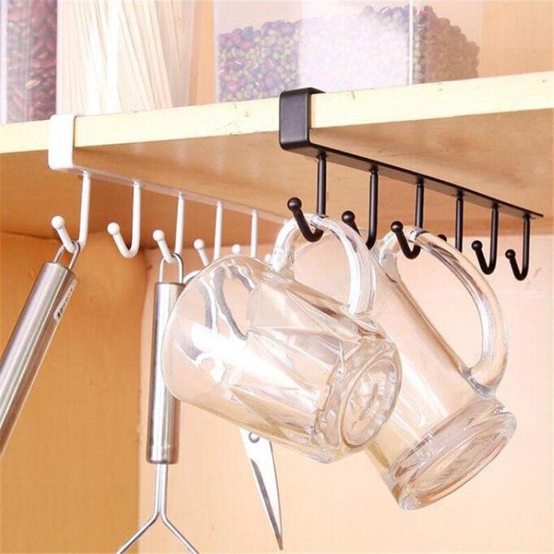 Hanging Hook Kitchen Cupboard Storage Shelf Organizer Closet Clothes Glass Mug Rack  Hanger