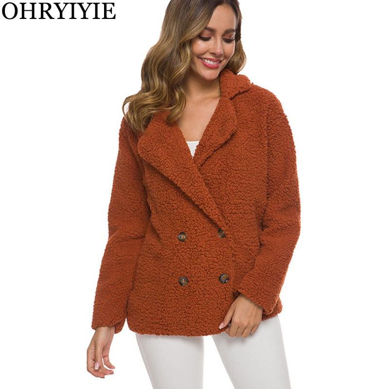 OHRYIYIE New Plus Size 5XL Loose Autumn Winter Coat Women   Jacket   Long Sleeve   Basic     Jackets   Outerwear Female Fluffy Shaggy Tops