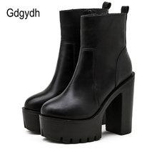 Gdgydh/черные высокие сапоги из искусственной кожи; Ботильоны