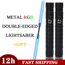 Double-edged Lightsaber RGB 7 Colors Change LED Laser Sword Two In One Switchable Saber Sound Full Metal Handle Cosplay Gift