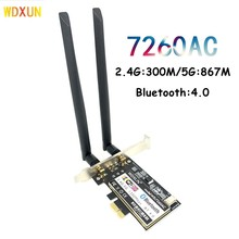 Desktop wifi pci express 7260ac 2.4ghz/5ghz wi-fi inteligente pcie bluetooth 867 4.0 wifi cartão de desktop pcie wifi AC-7260