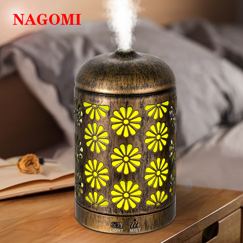 200ml Air Humidifier Iron Metal Ultrasonic Mist Maker Aroma Essential Oil Diffuser With 7 Color Light Change Bedroom Home SPA