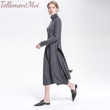 Elegant Knitted Dress Women Autumn Turtleneck Female Solid Sweater Dress Casual Long Sleeve Loose Winter Dresses Vestidos zbaiyh maternity dress autumn winter cotton knitted oneck long sleeve sweater dress for pregnant women solid color elegant dress
