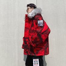 цены Hip Hop Camo Winter Parkas Jackets Men Fur Collar Thick Coats 2019 Fashion Winter Camouflage Hood Jacket Parka US SIZE DG318