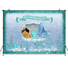 Mermaid Baby Shower Backdrop Under Sea Mermaid Little Mermaid Baby Shower Party Decorations Photo Background for Photography
