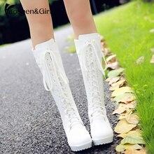 Haoshen ve kız Lacing Up diz yüksek kışlık botlar kadın Cosplay ayakkabı beyaz siyah kare topuklu ayakkabı deri ayakkabı büyük boyutu 33 48