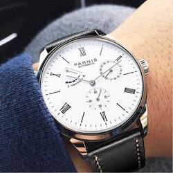 Parnis Men Watch automatyczny zegarek mechaniczny samozwijający rezerwa chodu luksusowej marki wodoodporny sportowy zegarek na rękę z kalendarzem mężczyzn w Zegarki mechaniczne od Zegarki na