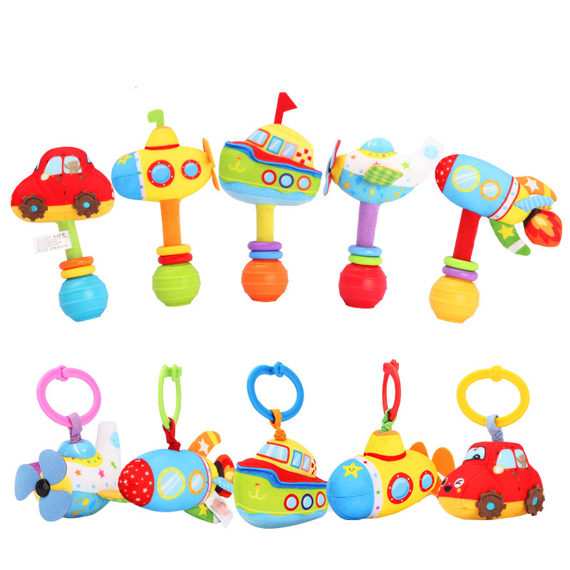Baby Cute Plush Hand Bells Pulldown Vibrating Vehicle Rattles Newborn Infant Early Educational Toys For Children Gift WJ408