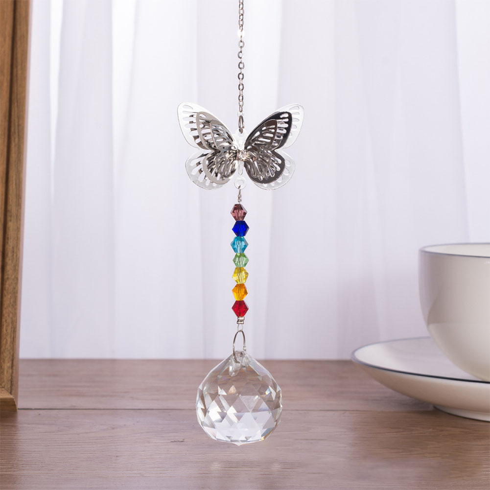 Outdoor Indoor Window Decorative Sun Catchers Prisms Butterfly Shaped Rainbow Accessories Hanging Crystal Pendant Reflection
