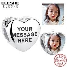 Abalorios de corazón con calados para pulsera Pandora, de Plata de Ley 925 auténtica, apto para collar, foto personalizada, joyería personalizada