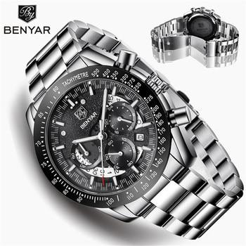 BENYAR Men's Watches Top Brand Luxury Watch Quartz Military Wristwatches Men Clock Chronograph Business Watch Relogio Masculino megir original quartz watches men chronograph wristwatches top brand business leather men military watch relogio masculino 5005