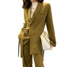 Vintage Spring Female Suit Jacket With Belt Wide Leg Pant Suit