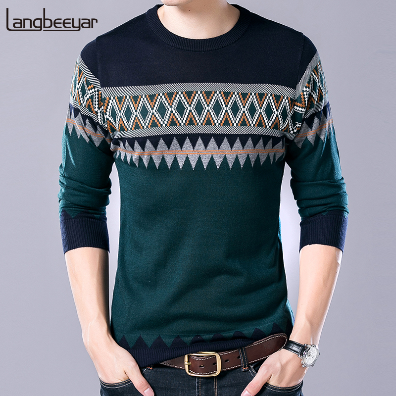 2019 New Fashion Brand Sweater Men Pullovers Christmas Slim Fit Jumpers Knitwear Woolen Autumn Korean Style Casual Clothing Male
