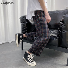 Men Casual Pants Plaid Loose Straight Trouser Male Retro All-match Ins Chic Harajuku Fashion Daily Basic Korean Style Streetwear
