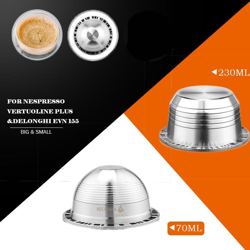 Duże i małe Espresso Capsulas Recargables Nespresso Vertuoline & Vertuo ze stali nierdzewnej wielokrotnego użytku filtr do kawy wielokrotnego użytku