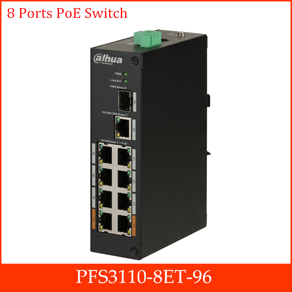 Original 8-Port PoE Switch Wide Working Temperature Design Layer Two Hardened PoE Switch Dual Power Backup PFS3110-8ET-96