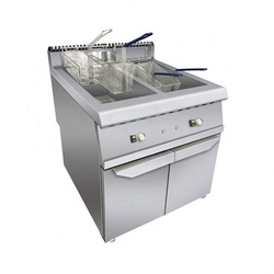 Stainless Steel Chicken Commercial Deep Fryer 36L*2 Gas Fryer With Cabinet