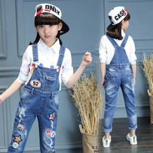 цена на 2019 Autumn Girls Denim Overalls Kids Jeans Pants Cartoon Girls Jumpsuit Children Trousers Overalls Infant Suspenders Pants