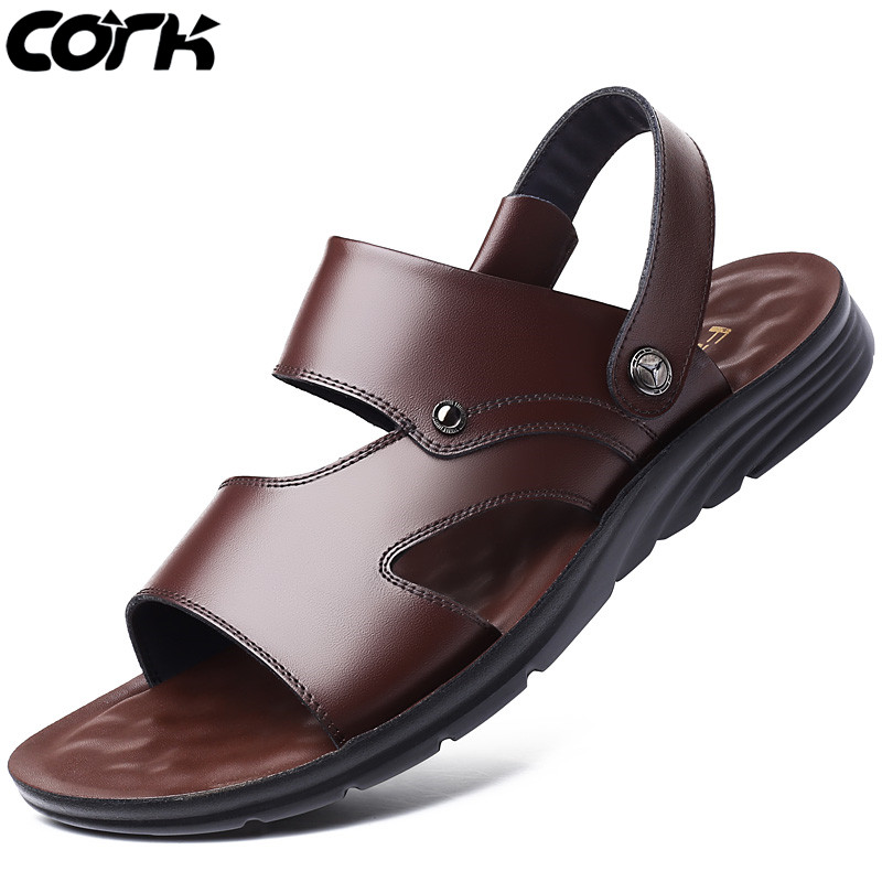 Cork Men Sandals Men Slippers Summer Roman Sandals Genuine Leather Male Casual Shoes Beach Flip Flops Fashion Outdoor Slippers