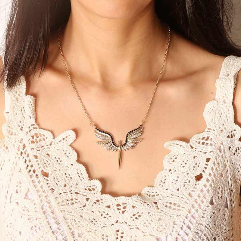 W stylu Vintage złota cyrkonia jasnego kryształu Angel Wings naszyjniki dla kobiet kołnierz prezent dziewczyna biżuteria
